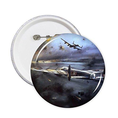 Aire Combat The Second War II Guerra Mundial Aviones de la Fuerza Aérea Aérea Trágica Militar Pintura al óleo Pines Redondos Insignia Botón Decoración de Ropa Regalo 5 Piezas, XL