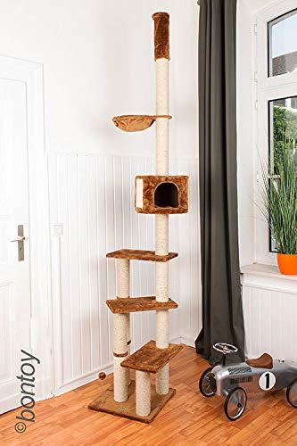 Bontoy Kratzbaum Pascha | Deckenhoch | mit 3 Ebenen | Farbe braun | 240cm - 260cm | Sisalstämme mit 9cm Durchmesser | für Deckenhöhe von 240-260cm | weitere Deckenhöhe auf Anfrage
