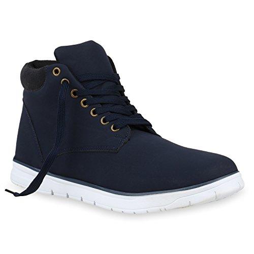 stiefelparadies Herren Schuhe Worker Boots Profilsohle Leder-Optik Outdoor 153304 Dunkelblau Schwarz 41 Flandell