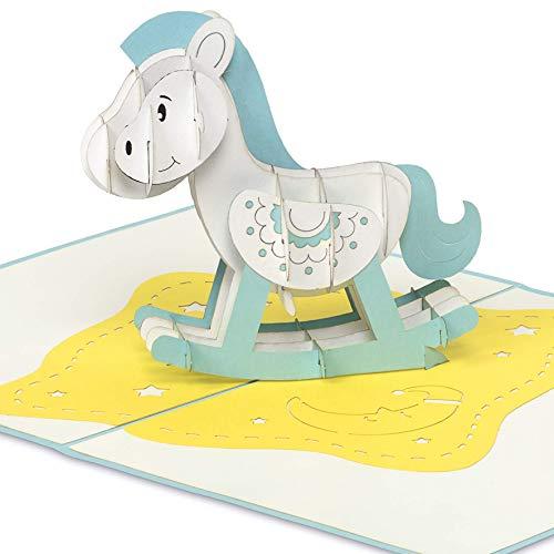 PaperCrush® Pop-Up Karte Geburt Schaukelpferd (Blau) - 3D Geburtskarte oder Taufkarte, Glückwunschkarte zur Geburt von Junge, Glückwunsch zum Baby - Handgemachte Geschenkkarte zur Taufe