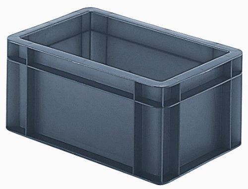 8 Stück Stapel-Transportkasten Lagerbehälter, 30x20x14,5 cm (LxBxH), grau, 5,5 Liter, extrem stabil