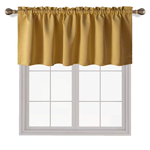 LORDTEX Honey Gold Valances for Windows - Thermal Insulated Room Darkening Kitchen Curtain Valances Rod Pocket Bathroom Valances for Living Room Bedroom Cafe, 1 Panel, 42 x 18 Inch