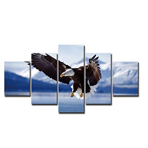 No Brand Eagle Flying Canvas Painting Animal Wall Art Moderne Bilder für Wohnzimmer Christmas-30x40cmx2 30x60cmx2 30x80cm ohne Rahmen