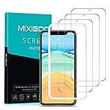 mixigoo Protector Pantalla para iPhone 11/iPhone XR (6,1''), [3 Piezas] Cristal Templado iPhone 11 [Marco Instvalación Fácil] Anti-Burbujas Anti-arañazos Vidrio Templado iPhone 11/iPhone XR