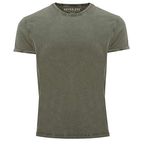 Neverless® Herren T-Shirt Vintage Shirt Printshirt Basic ohne Aufdruck Used Look Slim Fit Oliv L