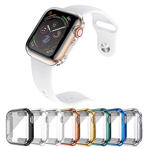 44mm 8-Stück Hülle Kompatibel mit Apple Watch Series 6 Series 5 Series 4, HD Ultradünne TPU Displayschutz, 360°Schutzhülle für iWatch Series 6/5/4/SE