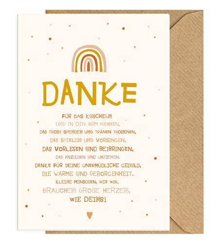 Dankeskarte für Erzieher, Erzieherin mit Kraftpapier-Briefumschlag - Grußkarte mit Naturkuvert (Rosa)