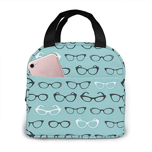 Bolsa de almuerzo reutilizable con diseño de gafas de dibujos animados