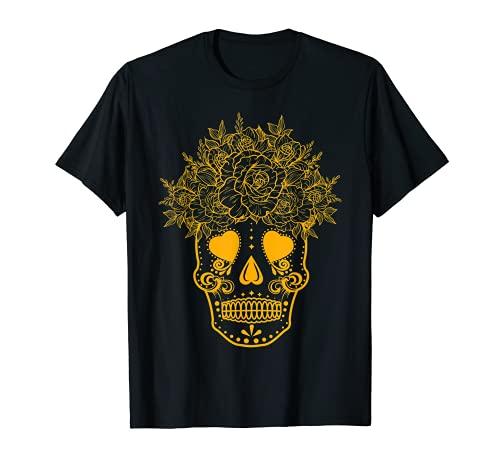 Halloween messicano teschio giallo giorno dei morti Muertos Maglietta