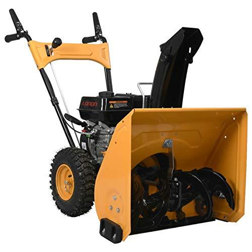 Tidyard Kehrmaschine Schneefräse Schneepflug 6,5 PS mit Schneeschild,4,1 kW / 3.600 U/min,Manuell gesteuerter Auswurfkamin,Gelb und Schwarz