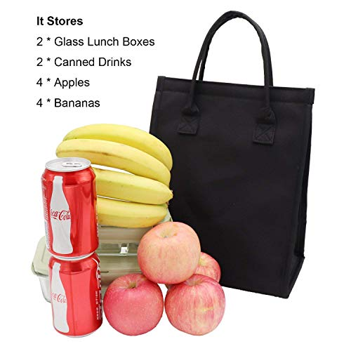 Insulated Lunch Bag Tote Leakproof Lunch Container Bag Durable Lunch Box for Adults Women Men Reusable Cooler Bag for Work Shopping Picnic (Black)