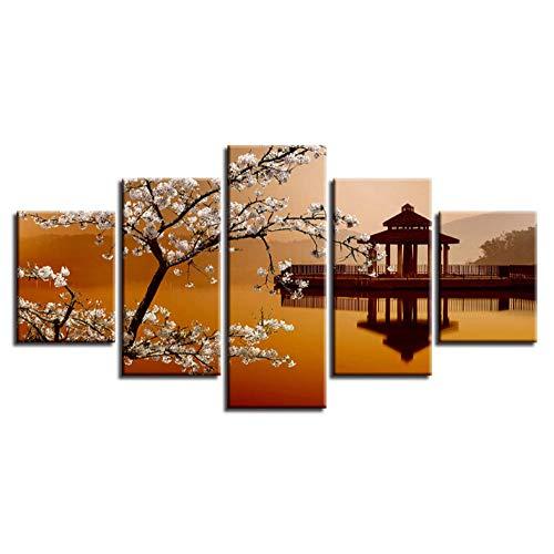 PrintWUHUA Wandbild Bild Auf Leinwand Mit Keilrahmen Retro- Birnen-Blumen-Kleiner Pavillon-Schöne Landschaft 5Piece Leinwanddruck XXL Kunstdruck (W) 100Cmx(H) 55Cm