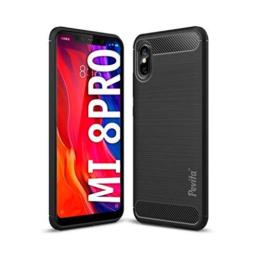 Funda Protectora para Xiaomi Mi 8 Pro - Carcasa de TPU con diseño de Fibra de Carbono y Cubierta de Silicona. Funda de móvil Negra Xiaomi Mi 8 Pro