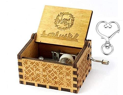 """Cuzit, """"Der Herr der Ringe""""-Filmmusik-Spieluhr in gravierter Holzbox mit Handkurbel, Musikspielzeug"""