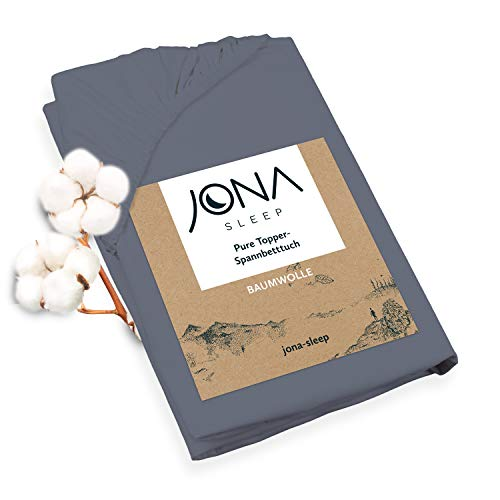 JONA SLEEP Topper-Bezug (180x200 cm) Anthrazit, Topper Spannbettlaken Boxspringbett aus Baumwolle - Öko Tex - Topper Spannbetttuch für einfaches Beziehen (Anthrazit, 180 x 200 cm)