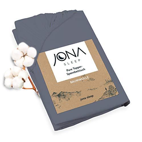 JONA SLEEP Topper-Bezug (180x200 cm) Anthrazit, Topper Spannbettlaken Boxspringbett aus Baumwolle - Öko Tex - Bettlaken für einfaches Beziehen (Anthrazit, 180 x 200 cm)
