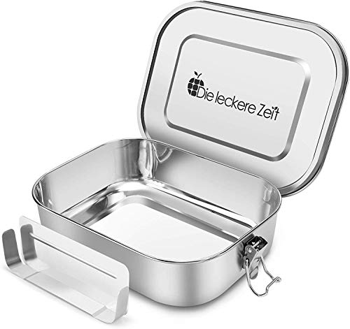 Bess Auslaufsicher Edelstahl Brotdose | Umweltfreundliche Brotdose ohne Plastik&BPA | Die hochwertige Lunchbox für Kinder und Erwachsene | 1400ml Fassungsvermögen Mit Abnehmbarer Trennsteg