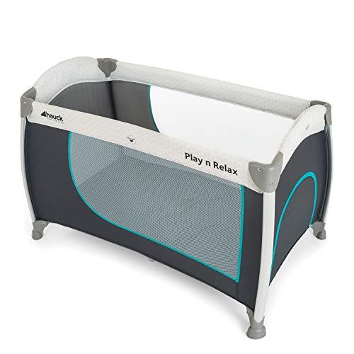 Hauck Reisebett Play N Relax / für Babys und Kinder ab Geburt bis 15 kg / 120 x 66 cm / Leicht / Kompakt Faltbar / Inkl. Trage Tasche / Rollen / Schlupf / Grau Türkis