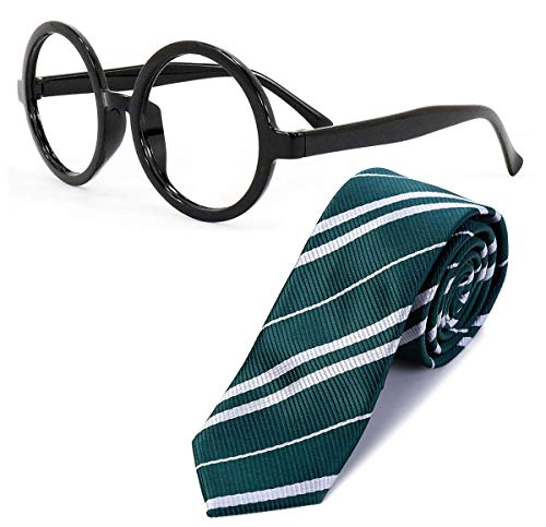 Sawaruita Striped Tie with Novelty Glasses Frame, for School Christmas Cosplay Costumes Accessories, Suit Kids Teens、Women and Men(Deep Green)