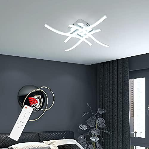 Wayrank Plafoniera a LED con 3 Colori, Lampadari Moderni con Telecomando, Lampadario a Led con 4 Pezzi di Luce Ondulata per Camere da Letto Corridoio Ufficio, 28W, 3000K-6000K
