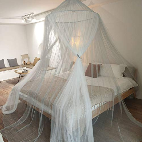 Mu Blue Mosquito Net Nordic Children's Room Decoration Princess Wind Gauze Girl Girl Heart Bedroom Bedside Ceiling Tent (Style Selection),White,1.8m