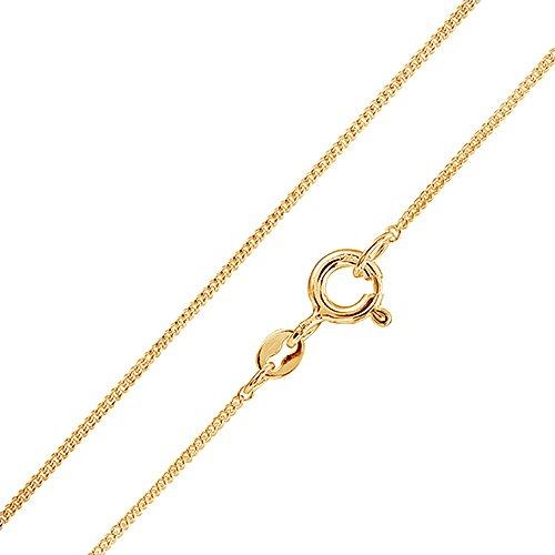MATERIA Schmuck 925 Silber Panzerkette vergoldet 1mm - Damen Halskette gold in 40 45 50 60 70 cm #K69, Länge Halskette:60 cm