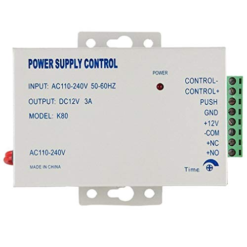 K80 12V 3A Power Supply Control for Video Door Phone System & Video Intercom Input AC 110-240V Support NO/NC Electric Door Lock and Exit Button Video Doorbell Power Supply