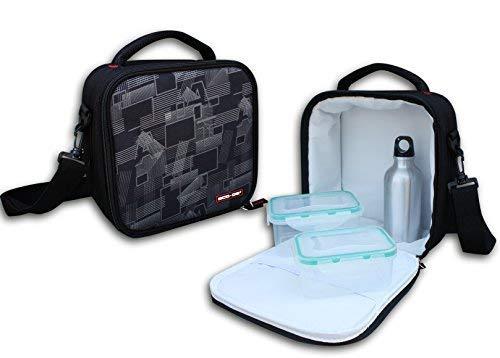 ECO-DE Bolsa térmica isotérmica Porta Alimentos Modelo Deluxe con 2 Recipientes herméticos (350 y 600 ml) y Termo Aluminio (300ml)