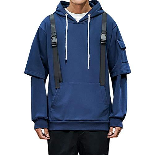 KaloryWee 2019 Herbst Winter Herren Sweatshirt Einfarbiger Patchwork Pullover Arbeitskleidung Armtasche Pullover mit Kapuze Outwear