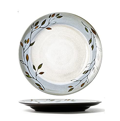 Horno de vajilla de cerámica cambiado plato de cena pintado a mano, plato occidental doméstico, ensaladera doméstica, plato de 8,7 pulgadas ( 22,3 cm )