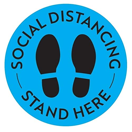 Social Distancing Floor Decals - Safety Floor Sign Marker - Maintain 6 Foot Distance - Anti-Slip, Commercial Grade - 11' Round - Blue/Black (5)