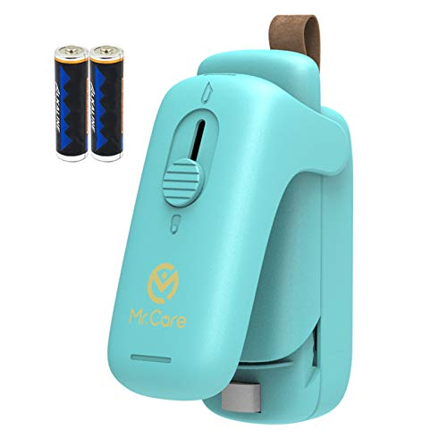 Mr. Care Mini Bag Sealer Heat Seal, 2 in 1 Handheld Heat Sealer and Cutter, Portable Plastic Bags Resealer for Snack Chip Bag, Food Storage and Freshness, Battery Included, Green