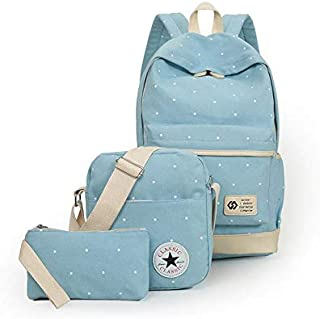 Canvas dot three pieces sets packbag fashion shoulder bag school bag junior