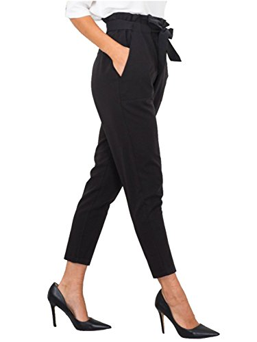 Simplee Apparel Women's Slim Straight Leg Stretch Casual Pants Pockets Black