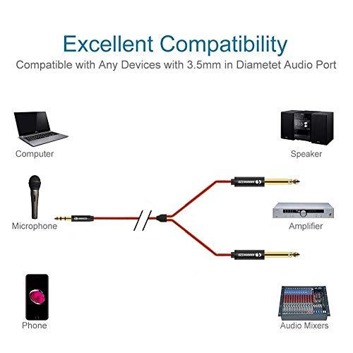 LinkinPerk 3,5mm auf 2 x 6,35 mm Audio Kabel, Doppel 6,35 mm Mono ...