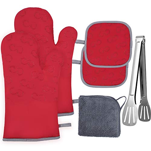 vplus Oven Mitts and Pot Holders 6pcs Set,Heat Resistant 500 Degree Extra Long potholders and Oven Mitts with Non-Slip Silicone...