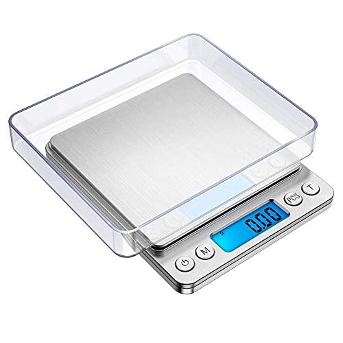 Escala de Cocina PRECIE Digital, Escalas electrónicas Profesionales con Pantalla LCD, Bolsillo de Escala electrónica para Hornear y cocinar 0.1/0.01g (Color : 500g(0.01g))