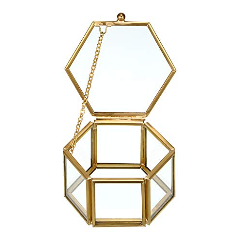 Hipiwe Glass Vintage Jewelry Box - Golden Geometric Jewelry Display...
