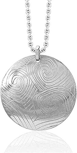 LKLFC Collar para Mujer Collar para Hombre Collar con Colgante con círculo de Plata de Ley 316L Ola Abstracta Chic Surfer - Collar con Colgante de Cadena de 18 Pulgadas Regalo para niñas y niños