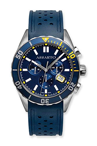ASSARTO®Watches ASH-9824RU-BLU Taucheruhr, Edelstahl Chronograph, Uhr/Armbanduhr mit Schweizer Uhrwerk und Saphirglas Herrenuhr/Damenuhr