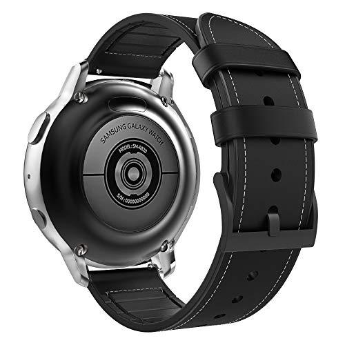 MoKo Correa Compatible con Galaxy Watch 3 41mm/Galaxy Watch Active/Active 2/Galaxy Watch 42mm/Gear Sport/Garmin Vivoactive 3/Huawei Watch GT2 42mm, 20mm Pulsera de Cuero Híbridas de Silicona - Negro