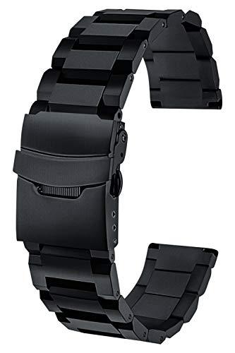 Minaori [時計愛好家推薦] 腕時計 ベルト バンド 22mm ブラック 取り替え工具付き MO-TB22-BK