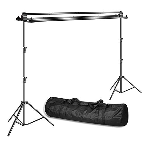 Emart Triple Crossbar 10 ft Wide 8.5 ft Height Backdrop Stand, Photo Video Studio Heavy Duty Adjustable Photography Muslin Background Support System Kit - 3 in 1 Multi Backdrop Stand