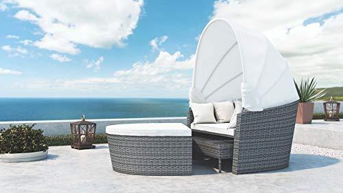 ARTELIA -Raalia Polyrattan Loungemöbel - Gartenmöbel-Set für Garten, Terrasse, Wintergarten und Balkon, Rattan Sonneninsel, Strandkorb Gartenmöbel, Ash Grau meliert