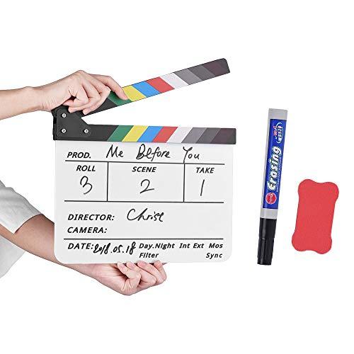 Docooler akryl anslagstavla med pennsuddgummi filmregissör klippning actionscen klamerskiva skiffer