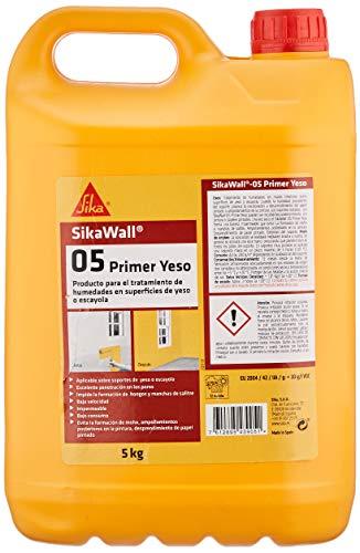 SikaWall-05 Yeso, Blanco, Resina acrílica lista para su para tratamiento de humedades en muros interiores de yeso o escayola, 5kg