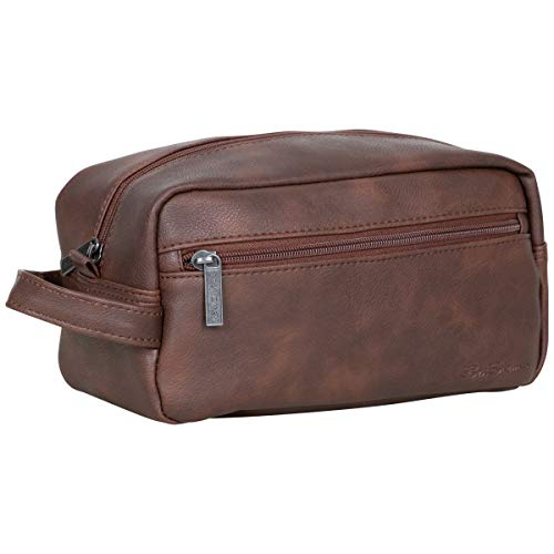 Ben Sherman Noak Hill Collection Vegan Leather Toiletry Travel Kit, Brown, Single Compartment