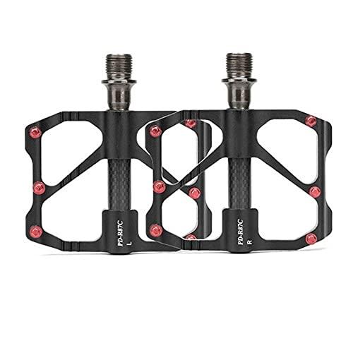 DSMGLSBB Pedales De Bicicleta Universales, Aleación De Aluminio Plataforma Antideslizante Pedales De Trekking con 12 Pasadores Antideslizantes, Rodamientos De Fibra De Carbono De 9/16',B