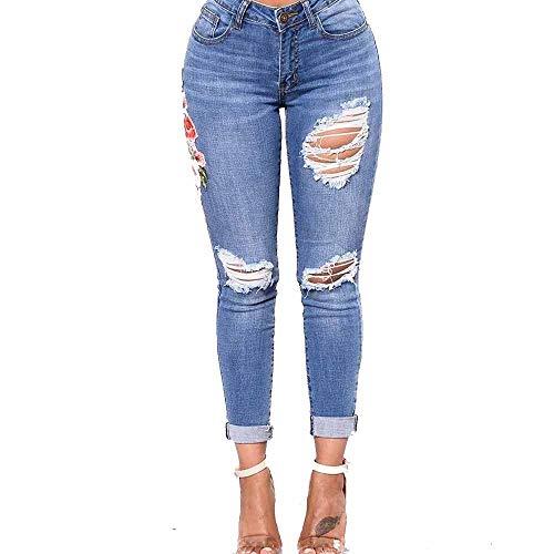 LEXUPE Mode Femmes Jeans Denim Trou Femme Taille Haute Stretch Slim Sexy Crayon Pantalon