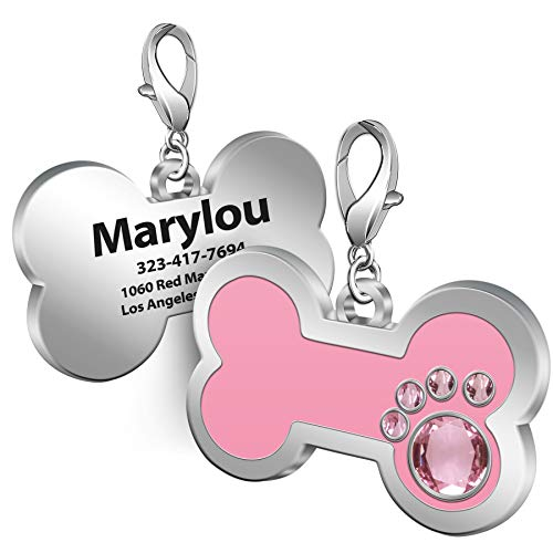 TedYoho Personalized Engraved Stainless Steel Pet ID Silent Tag,Bone and Paw Shape Dog Tags & Cat Tags with Crystals (Pink, Bone Shape)